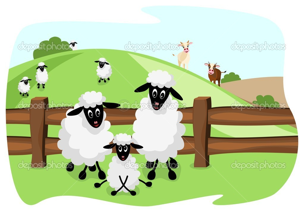 Cute sheep family on pasture