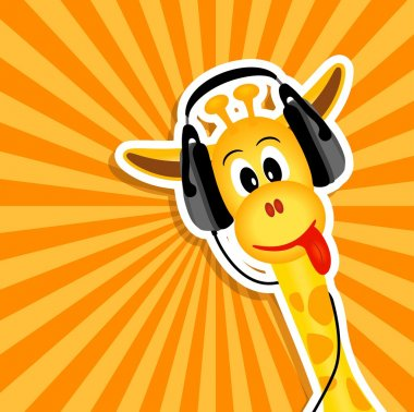 Funny giraffe with headphones