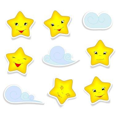 Cartoon stars and clouds