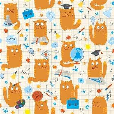 Seamless Pattern - Cats Studing School Subjects