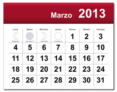 Spanish version of March 2013 calendar