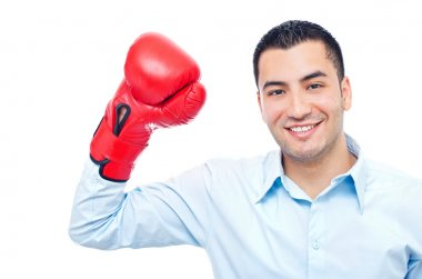 Young happy businessman with box glove
