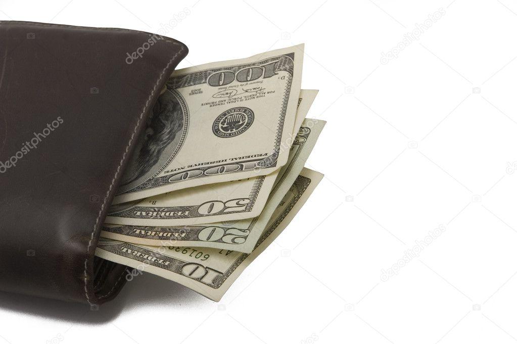 imágenes detalladas 50% rebajado Mejor precio Una foto de cartera con billetes de dólar — Foto de stock ...
