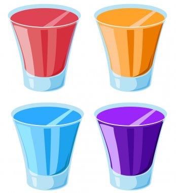 Illustration of 4 shot glasses stock vector
