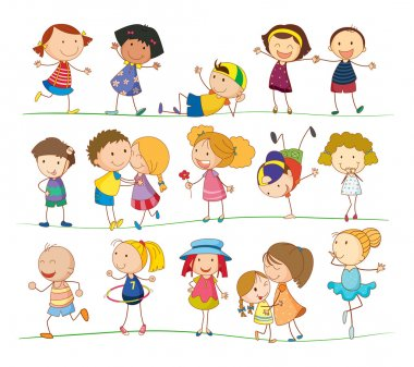 Illustration of collection of simple kids stock vector