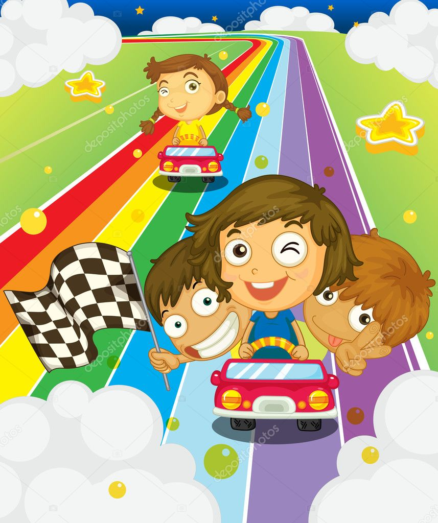 Illustration of kids racing on a rainbow stock vector