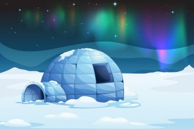 Illustration of the aurora borealis over an igloo stock vector