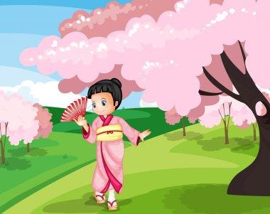 Japanese girl in garden