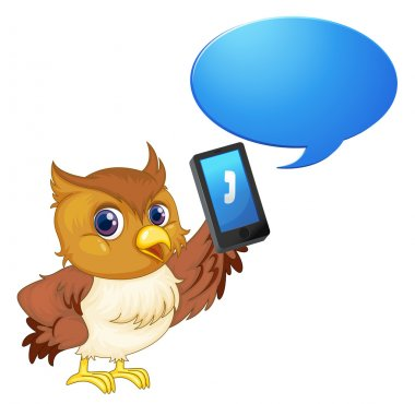 a bird with cell phone