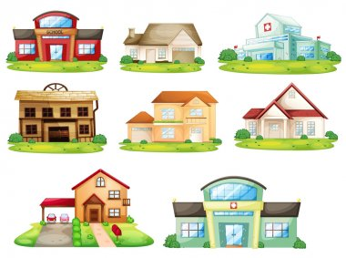 Illustration of houses, and other buildings stock vector