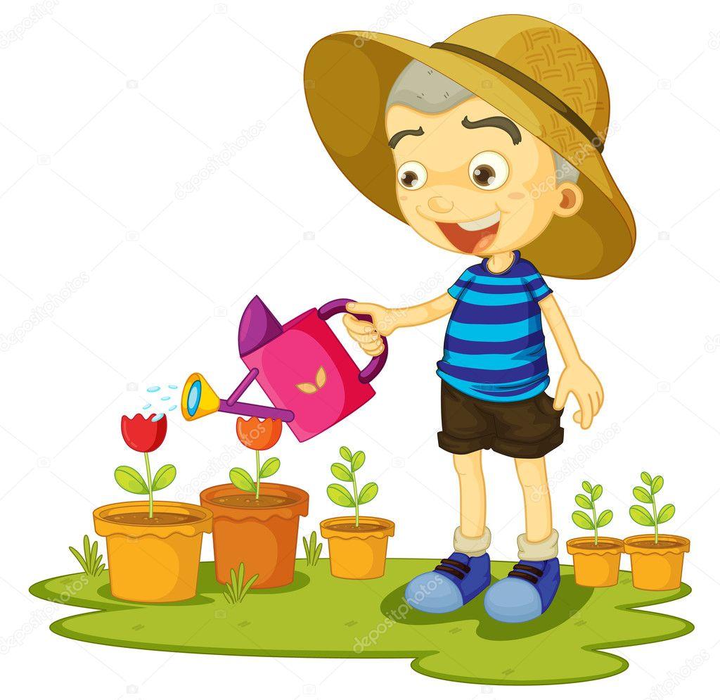 Uma garota regando as plantas vetor de stock interactimages 11323952 - Como cuidar un jardin ...