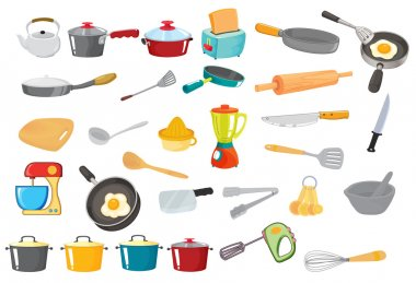 Illustration of various utensils on a white stock vector