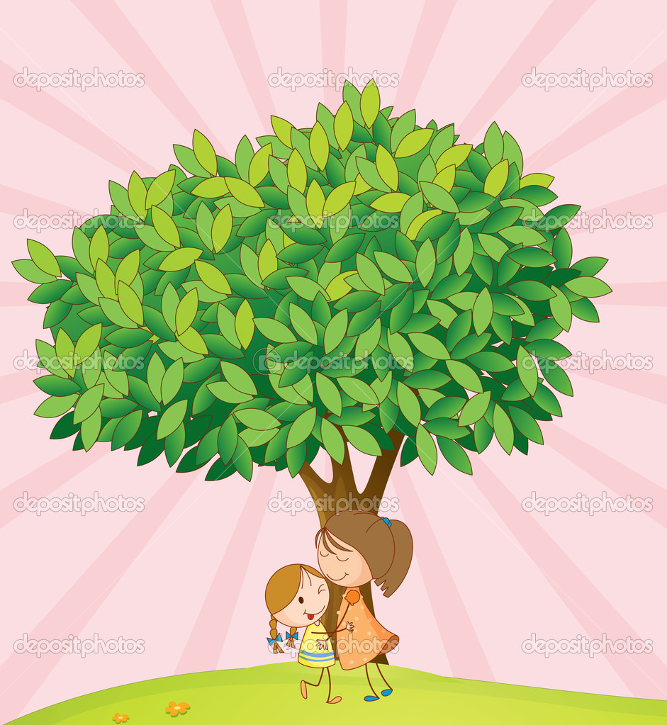 kids playing under tree u2014 stock vector interactimages 11518858