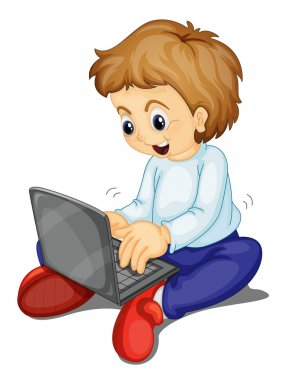 Illustration of a boy and laptop on a white clip art vector
