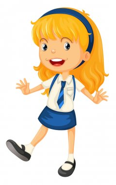 a girl in school uniform
