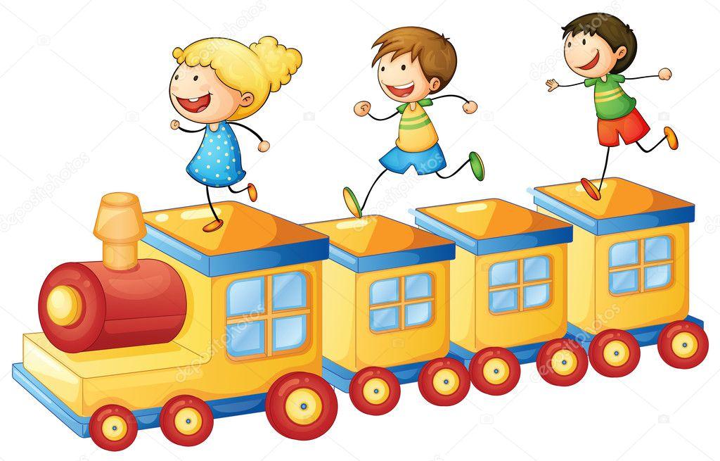Ni os jugando en tren vector de stock interactimages for Aprendemos jugando jardin infantil