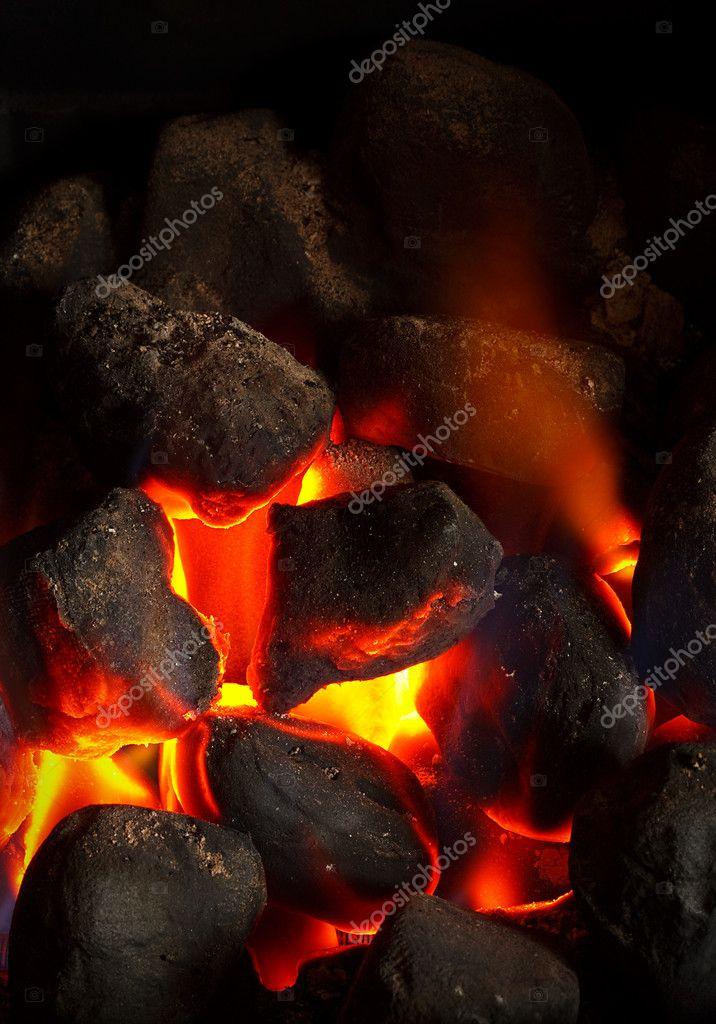 Coal fire glowing