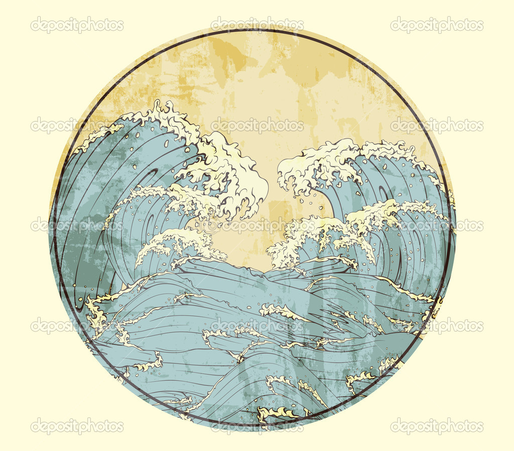 Japanese frame with waves