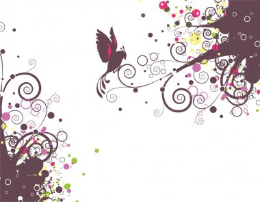 Abstract floral with bird