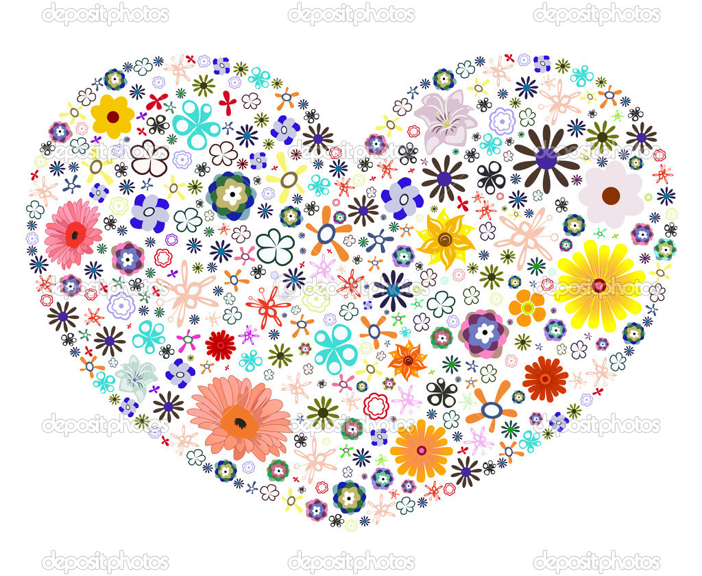 Designous Heart Made Of Flowers Stock Vector 169 Designious 11506615