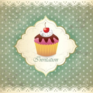 Vintage card with cupcake 017