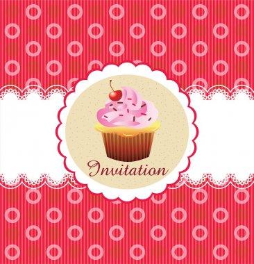 Cute cupcake invitation background