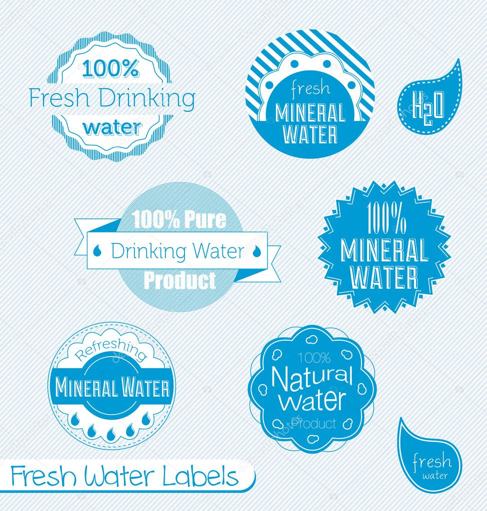 Vector Set: 100% Drinking Water Labels