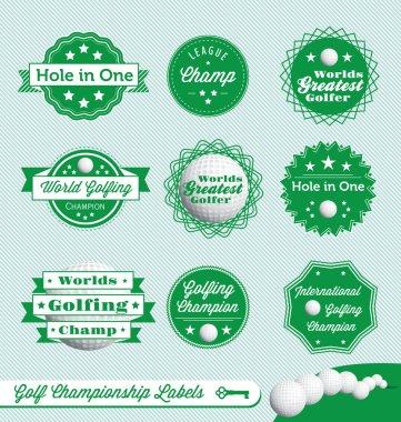 Vector Set: Golf Champion Labels