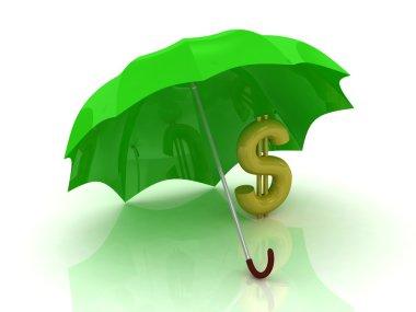 Gold dollar under the green umbrella