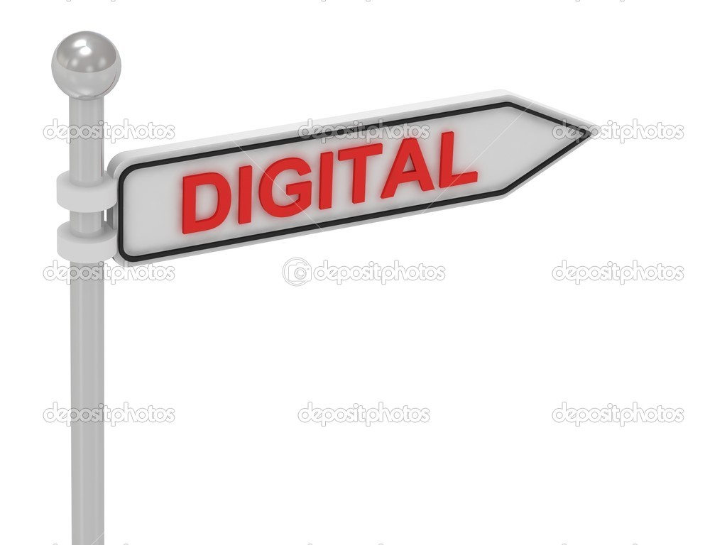 DIGITAL arrow sign with letters