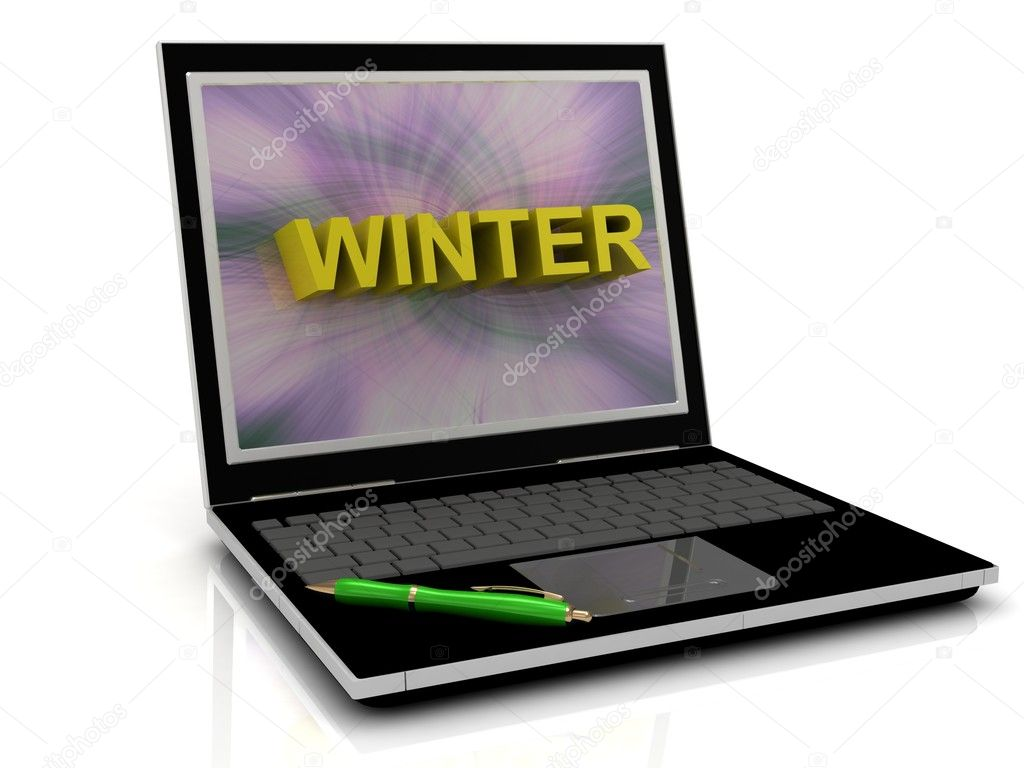 WINTER message on laptop screen