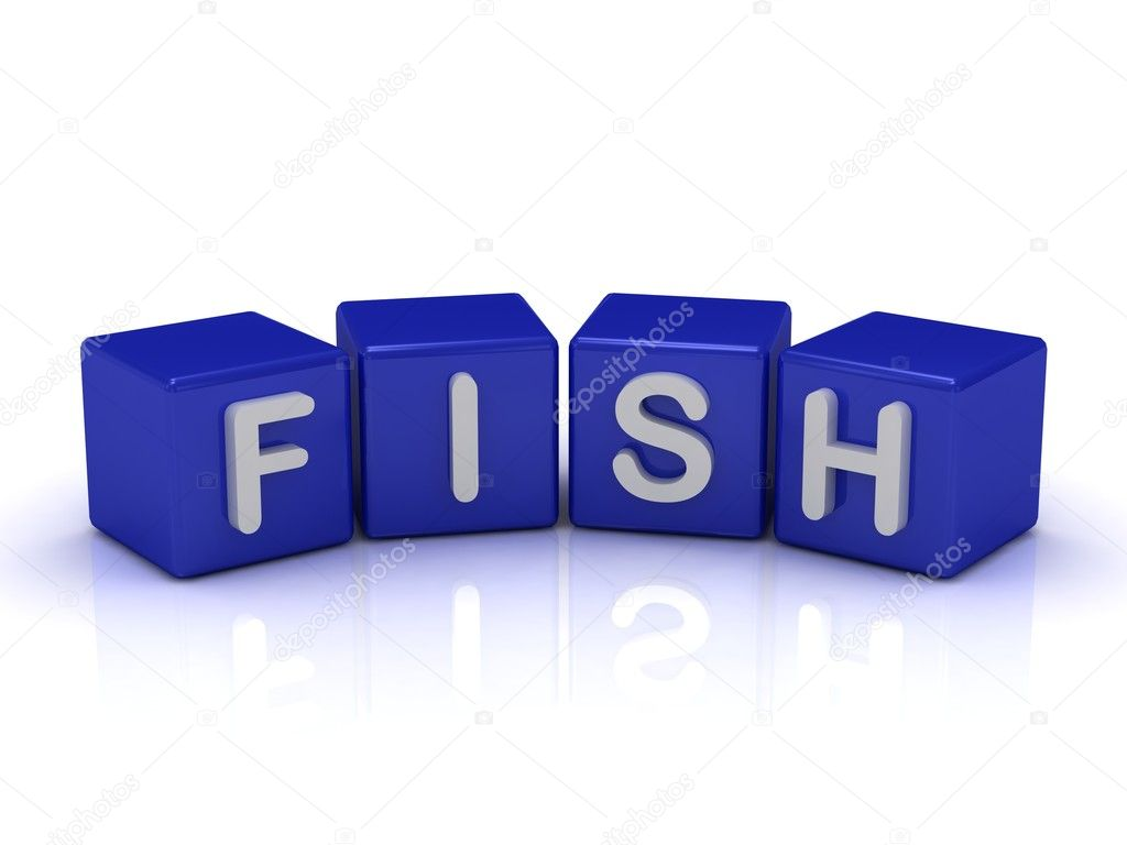 FISH word on blue cubes