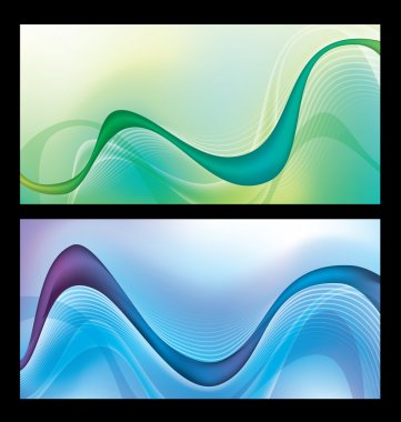 Abstract green and blue wave vector background