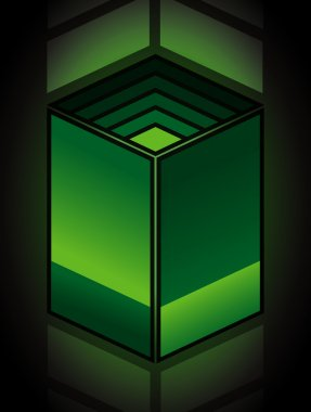 Green abstract parallelogram cube