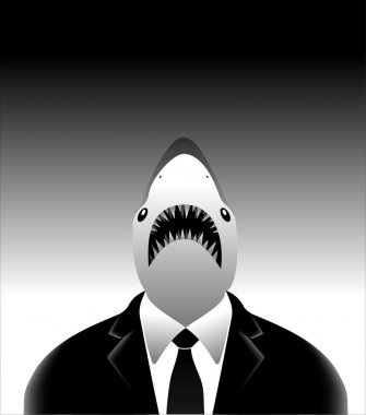 The art business white shark in classic suit on gr