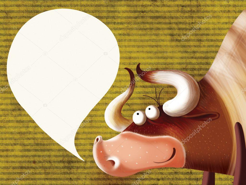 Toro felice dei cartoni animati con un segno u foto stock