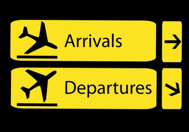 Arrivals and departures in airports