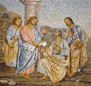Rome - mosaic from st. Peters basilica - giving the papal authority