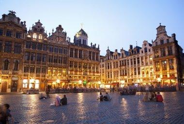 "Картина, постер, плакат, фотообои ""брюссель - главная площадь и ратуша вечером. маркт, гроте ."", артикул 12113283"
