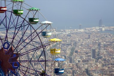 Barcelona - outlook from Tibidabo hill and big whell