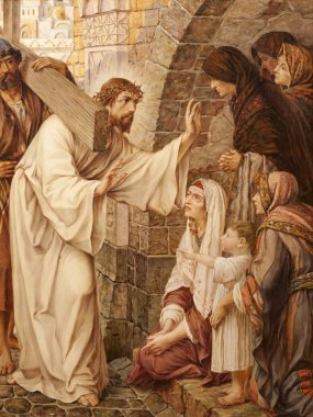 GENT - JUNE 23: Jesus and crying women on the cross way. Paint in st. Peter s church by Josef Piens Cooreman on June 23, 2012 in Gent, Belgium.