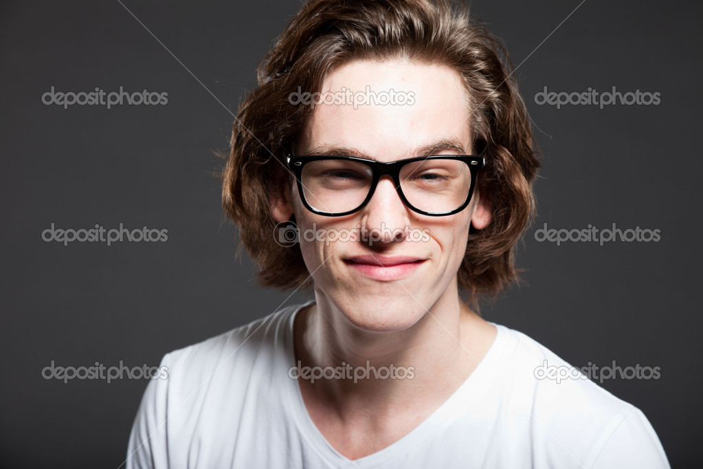 Handsome Young Man With Brown Long Hair And Retro Glasses Isolated