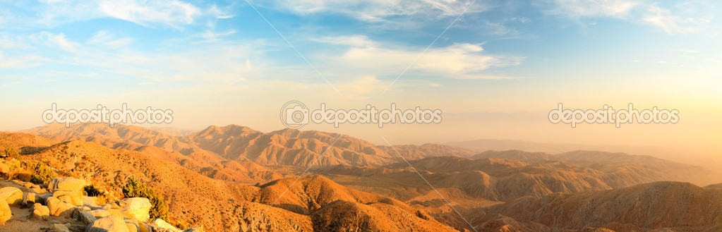 Panorama landscape of North American desert in Joshua Tree National Park, USA. Sunset.