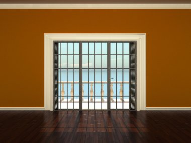 Empty interior room with orange walls and windows to the terrace