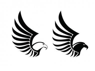 Eagle Hawk Falcon Sing, Black and White vector, bird