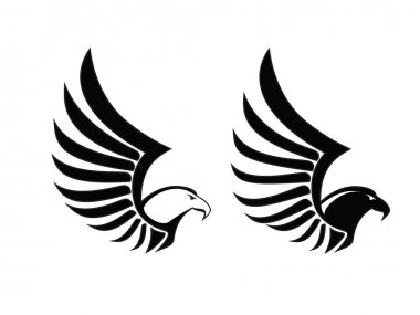 Eagle Hawk Falcon Sing, Black and White vector, bird