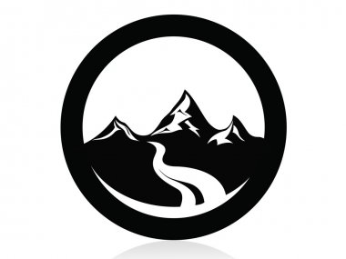 Mountain in circle logo,icon,sign,vector