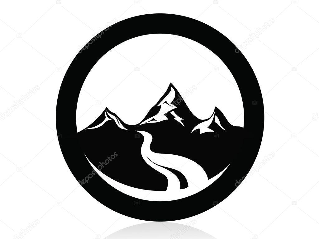 Mountain in circle logo,icon,sign,vector