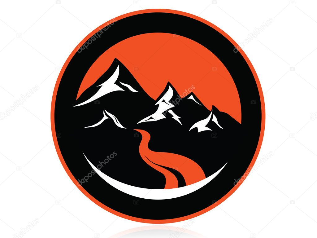 Mountain peaks, river, in circle,logo,icon,sign,vector
