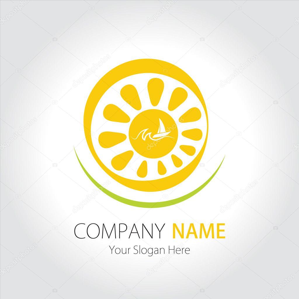Company (Business) Logo Design, Sun, Sea and Sailing Ship